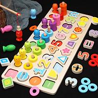 Bộ Đồ Chơi Bảng Gỗ 5IN1 Đồ Chơi Giúp Bé Phát Triển Trí Não Giáo Dục Theo Phương Pháp Montessori - Tặng Kèm 01 Tranh Ghép Bằng Gỗ
