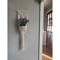 Thảm Treo Chậu Cây Trang Trí Macrame TTC01- Sản Phẩm Handmade, Dùng Treo Tường Decor Trong Nhà Ở, Văn Phòng Làm Việc, Homestay, Quán Cà Phê