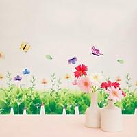 Decal trang trí dán chân tường hình hoa bướm đầy màu sắc cho bé XL7183