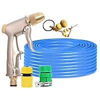 Bộ dây vòi xịt nước rửa xe, tưới cây đa năng, tăng áp 3 lần, loại 7m, 10m 206701-1 đầu đồng,cút, +tặng móc khoá