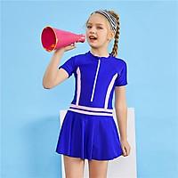 Nữ 1 Mảnh Với Váy Ngắn Tay Dây Kéo Bộ Đồ Tắm Đầm Trẻ Em Mặc Đi Biển Lướt Monokini 13-14 năm