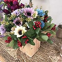 Lọ Hoa Giả -  Hoa Cúc Nhỏ Và Cây Chùm Đỏ - Hoa Giả Cao Cấp - Hoa Giả Trang Trí
