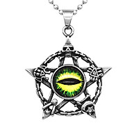 Mens Stainless Steel Pentacle Star Resin Evil Eye Skull Pendant Necklace Amulet Charms Necklace Jewelry