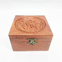 Hộp đựng con dấu - hộp đựng trang sức nhỏ, con dấu đơn Điêu khắc chữ Phúc VUÔNG POWERFUL