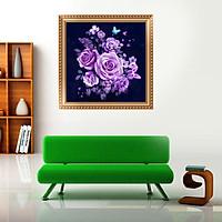 Bộ kit tranh đính đá 5D hoa hồng tím độc đáo kích thước 30*30cm, trang trí phòng khách, phòng học