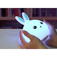Đèn ngủ silicon cảm ứng chạm hình thỏ đổi màu cắm cổng USB ngộ nghĩnh, đáng yêu (Thích hợp làm đèn ngủ, đèn trang trí )( Tặng kèm 01 quạt mini cắm cổng USB )