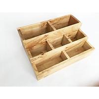 Khay gỗ để bàn - Kệ đựng văn phòng phẩm đa năng bằng gỗ tự nhiên 25x18x10cm (DxRxC)