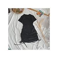 Váy body khoét ngực dây rút bên hông chất cotton