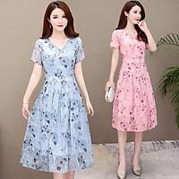Summer Slim V-neck Floral Dress Elegant Short Sleeves Middle Long Printing Causal Dress