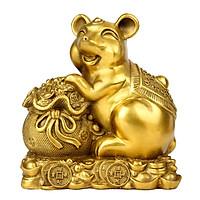 Tượng linh vật con chuột bên bao tài lộc bằng đồng thau phong thủy Hồng Thắng