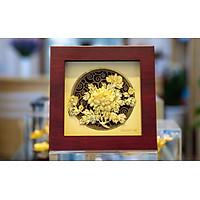 Tranh hoa mẫu đơn dát vàng (20x20cm) MT Gold Art- Hàng chính hãng, trang trí nhà cửa, phòng làm việc, quà tặng sếp, đối tác, khách hàng, tân gia, khai trương