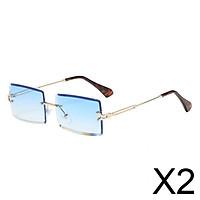 2xChic Rectangle Cut Rimless Sunglasses Tinted Lens Eyewear Shades Blue