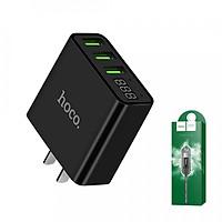 Củ sạc Hoco C15 củ sạc 3 cổng USB 3A có đèn LED hiển thị dòng diện - Tặng cáp sạc Lightning Hoco X14
