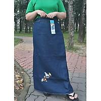 Váy Chống Nắng Nữ Jean Dài Thêu Chim Sâu, Có Nút Bấm Kim Loại, Lưng Thun Co Dãn, Chống Nắng Tốt, Hàng Chất Lượng