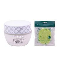 Kem Dưỡng Ẩm Trắng Da Hàn Quốc Cao Cấp Whitening Cream 3W Clinic Collagen (60ml) + Tặng Bông bọt biển massage mặt Hàn Quốc Mira Culous – Hàng Chính hãng