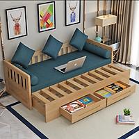 Sofa kiêm giường ngủ gỗ thông có ngăn kéo tặng đệm gối