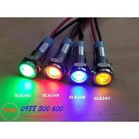 Đèn báo tín hiệu 12-24V, phi 6mm vỏ inox, màu xanh dương, xanh lá, đỏ và vàng - SL624x (x=R/G/B/Y)