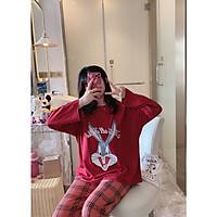 Đồ mặc nhà đồ ngủ cao cấp pijama cho nữ cottong màu đỏ hình thỏ không cổ quần dài áo dài thu đông họa tiết đáng yêu 2020