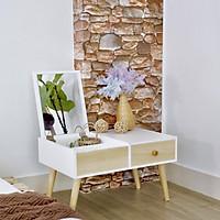 Bàn trang điểm bệt Twin Home màu trắng phối gỗ