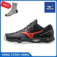 Giày tennis Mizuno Wave Intense Tour 5 AC 61GA190062 chính hãng, êm ái, nhẹ nhàng, chống lật cổ chân - Màu đen - Tặng kèm tất thể thao Bendu