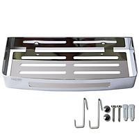 Kệ chữ nhật nhà tắm Inox 304 HOBBY KCN2 loại dày - khoan tường - kèm 2 móc treo