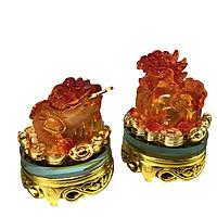 Cặp cóc tỳ hưu đỏ cam xoay 360độ đế kính-AN13130