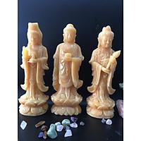 Bộ Tam Thế Phật đá ngọc hoàng long vàng - cao 30cm - nặng 8,25kg