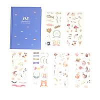 Sổ Kế Hoạch Nhật Ký 365 Ngày Life Planner Xanh Dương Kèm Bộ 6 Tấm Sticker Trang Trí Mẫu Ngẫu Nhiên