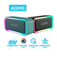 ACOME A6 Loa Bluetooth 5.0 công suất 5W với LED RGB Hỗ trợ TWS ghép đôi 2 loa Âm thanh vòm 360 độ kết hợp bass trầm thời gian nghe nhạc 6H - HÀNG CHÍNH HÃNG