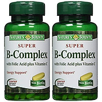 Viên Uống Nature's Bounty Super B-Complex Bổ Sung Axit Folic & Vitamin C (150 Viên x 2 Hộp)