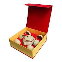 Bộ trà quà tặng Ấm chấm nhật Đông Gia - men Cát vàng 77