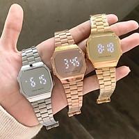 Đồng hồ điện tử đeo tay led tráng gương đôi nam nữ mặt vuông đẹp chính hãng cao cấp