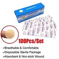 100Pcs Mini Round Disposable l Adhesive Aid Wound Band Sterile Bandage First Aid Breathable Bandage Children Adult