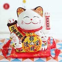 Tượng Mèo Thần Tài Ngũ phúc lâm môn vẫy tay chiêu tài lộc 20cm bằng gốm sứ - mẫu giao ngẫu nhiên