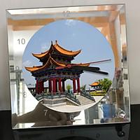 Đồng hồ thủy tinh vuông 20x20 in hình Temple - đền thờ (43) . Đồng hồ thủy tinh để bàn trang trí đẹp chủ đề tôn giáo