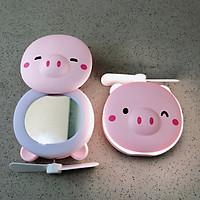 Quạt mini heo hồng có đèn và gương soi