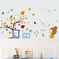 Decal dán tường hình lá phong cho bé XL7202