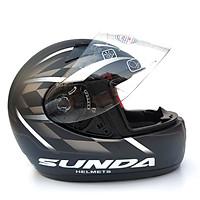 Mũ bảo hiểm fullface chính hãng Sunda 2000c đen nhám sọc trắng