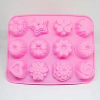 Khuôn silicon làm thạch rau câu, socola 12 Hình Hoa Làm Kẹo, Thạch, Socola