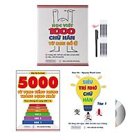 Sách - Combo 3: Học viết 1000 chữ Hán từ con số 0 + Siêu trí nhớ chữ Hán Tập 01 + 5000 từ vựng tiếng Trung thông dụng nhất + DVD Tài liệu