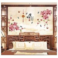 Decal trang trí phòng ngủ Hoa hồng lãng mạn, cổ điển đầy phong cách (115 x 220 cm)