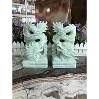 Cặp Rồng đứng phong thủy đá cẩm thạch trắng xanh - Cao 20cm