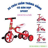 Xe đạp 3 bánh sport 3 in 1 cho bé 2 đến 5 tuổi - Xe chòi chân thăng bằng có bàn đạp, khung thép yên da –– DC036