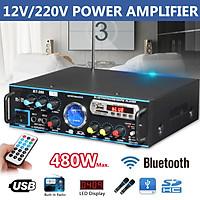480W bluetooth Stereo Amplifier HIFI 2CH Tuner Remote Control FM SD Mic   z g