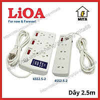 Ổ Cắm Điện Công Suất Lớn Chịu Tải LiOA - 4 lỗ, 6 lỗ dây dài 2.5m 2 lõi