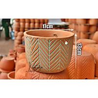 Chậu treo trồng cây gốm đất nung (terracotta) HOA VĂN XƯƠNG CÁ D17xH11cm - gốm sứ Bình Dương chất lượng cao