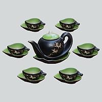 Bộ ấm chén men thủy tinh Đào gốm sứ Bát Tràng (bộ bình uống trà, bình trà)