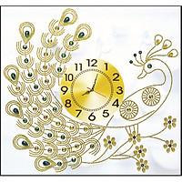 Tranh đính đá đồng hồ con Công ( chưa đính) - AL88605 - 63x60cm