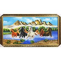 Tranh Sơn Dầu Vẽ Tám Con Ngựa Đẹp