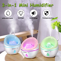 w/Night Light+Cooler Fan 350ML LED Ultrosonic Mini USB Humidifier Air Purifier Suit for Gym/ Yoga/Baby Room/ Office/SPA